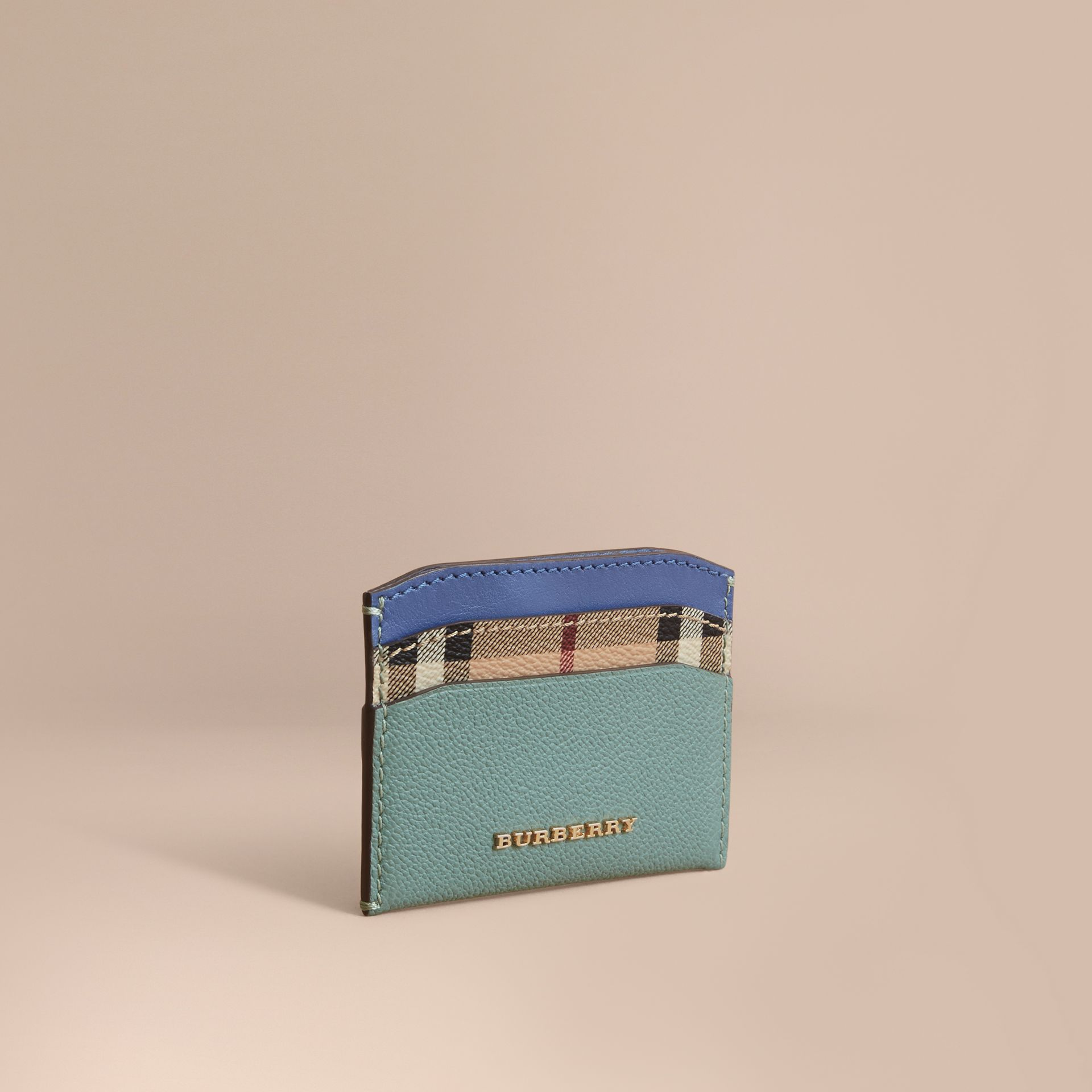 Colour Block Leather and Haymarket Check Card Case in Eucalyptus Grn/multi - Women | Burberry - gallery image 1
