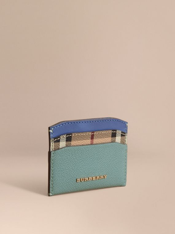 Colour Block Leather and Haymarket Check Card Case in Eucalyptus Grn/multi