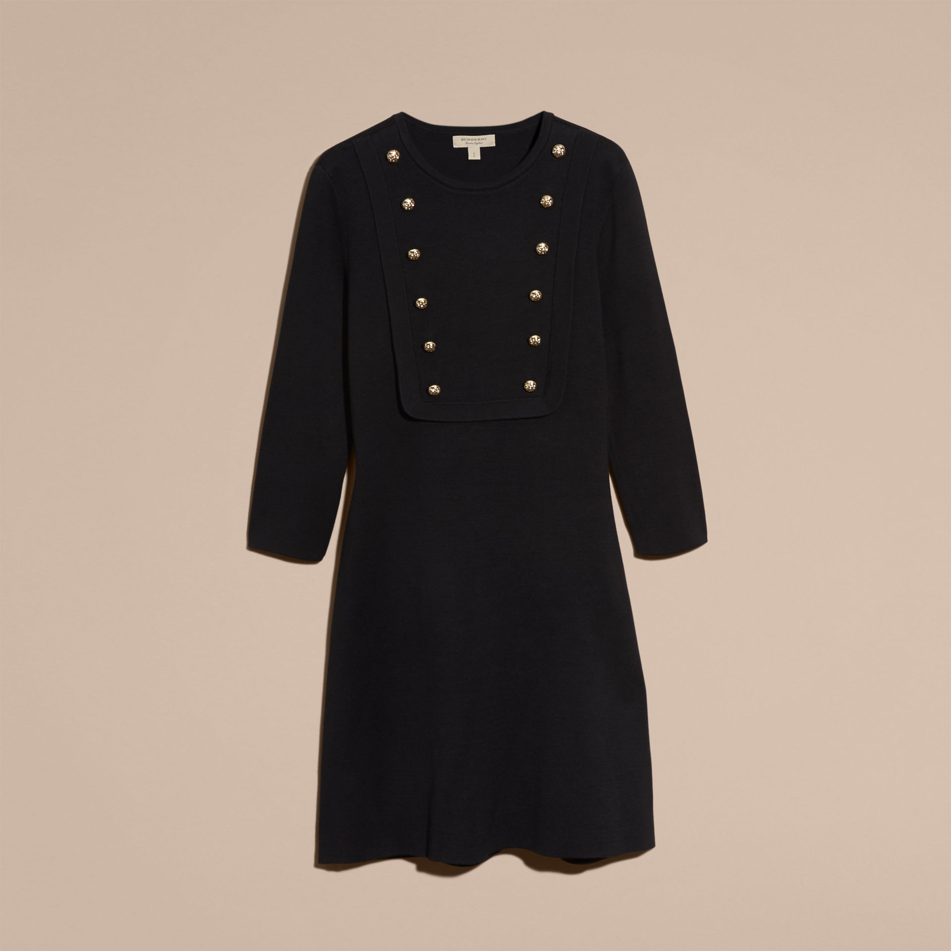 Black Stretch Silk-cotton Knitted Military Dress - gallery image 4