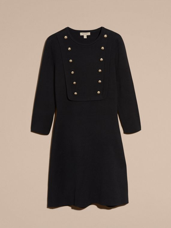Black Stretch Silk-cotton Knitted Military Dress - cell image 3