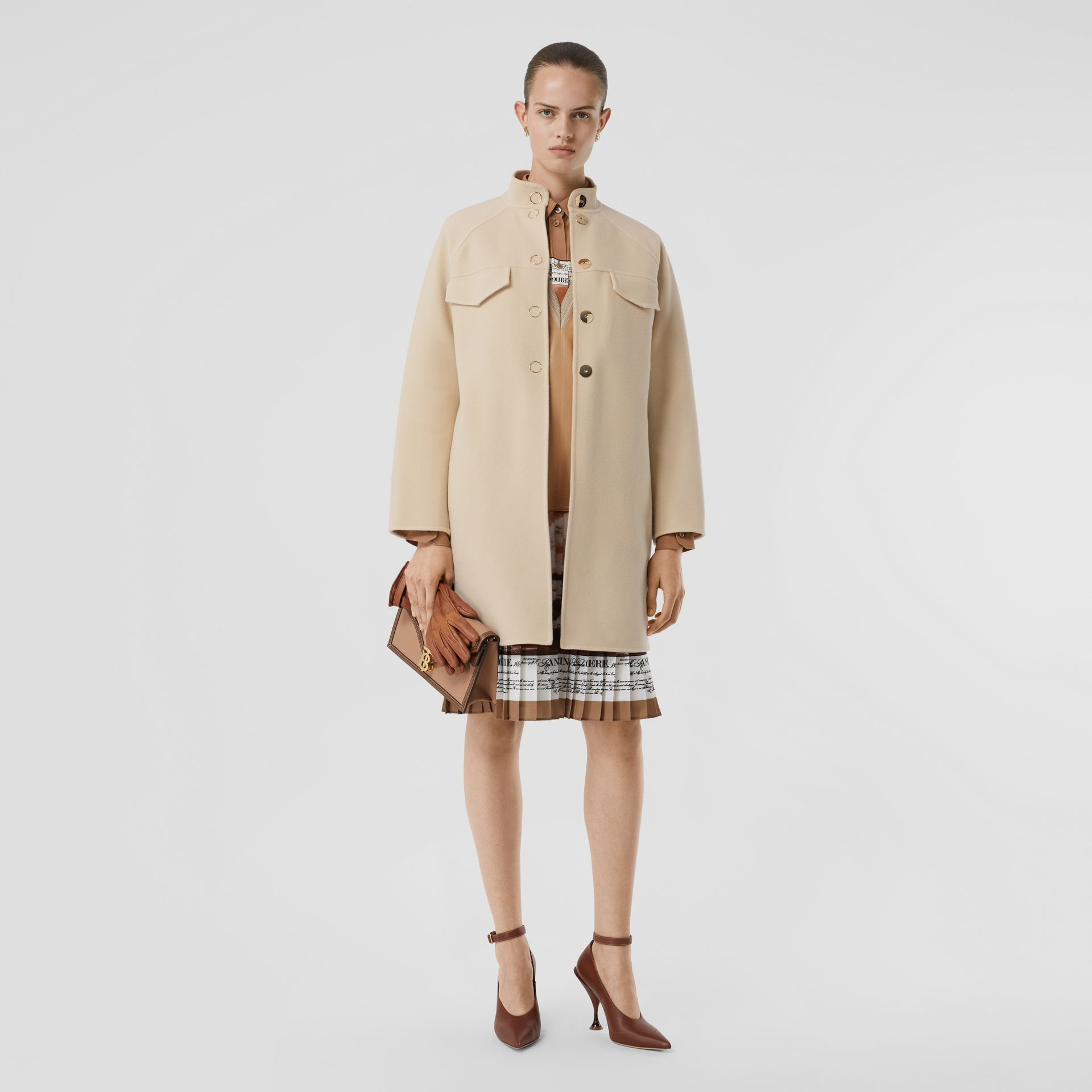 Wool Cashmere Tailored Coat in Sesame - Women | Burberry United States - gallery image 0