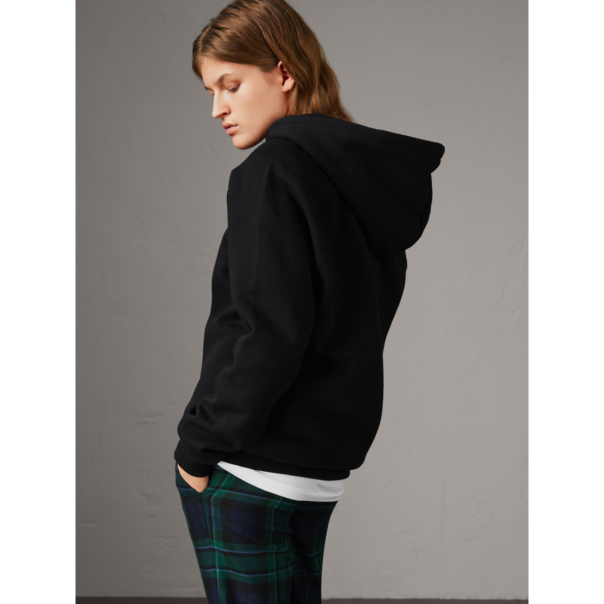 Embroidered Hooded Sweatshirt in Black - Women | Burberry United Kingdom - gallery image 2