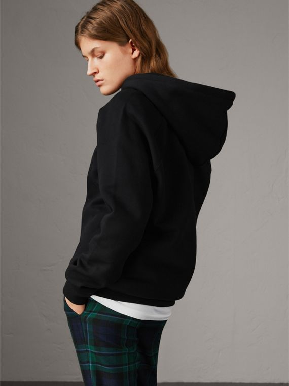 Embroidered Hooded Sweatshirt in Black - Women | Burberry United Kingdom - cell image 2