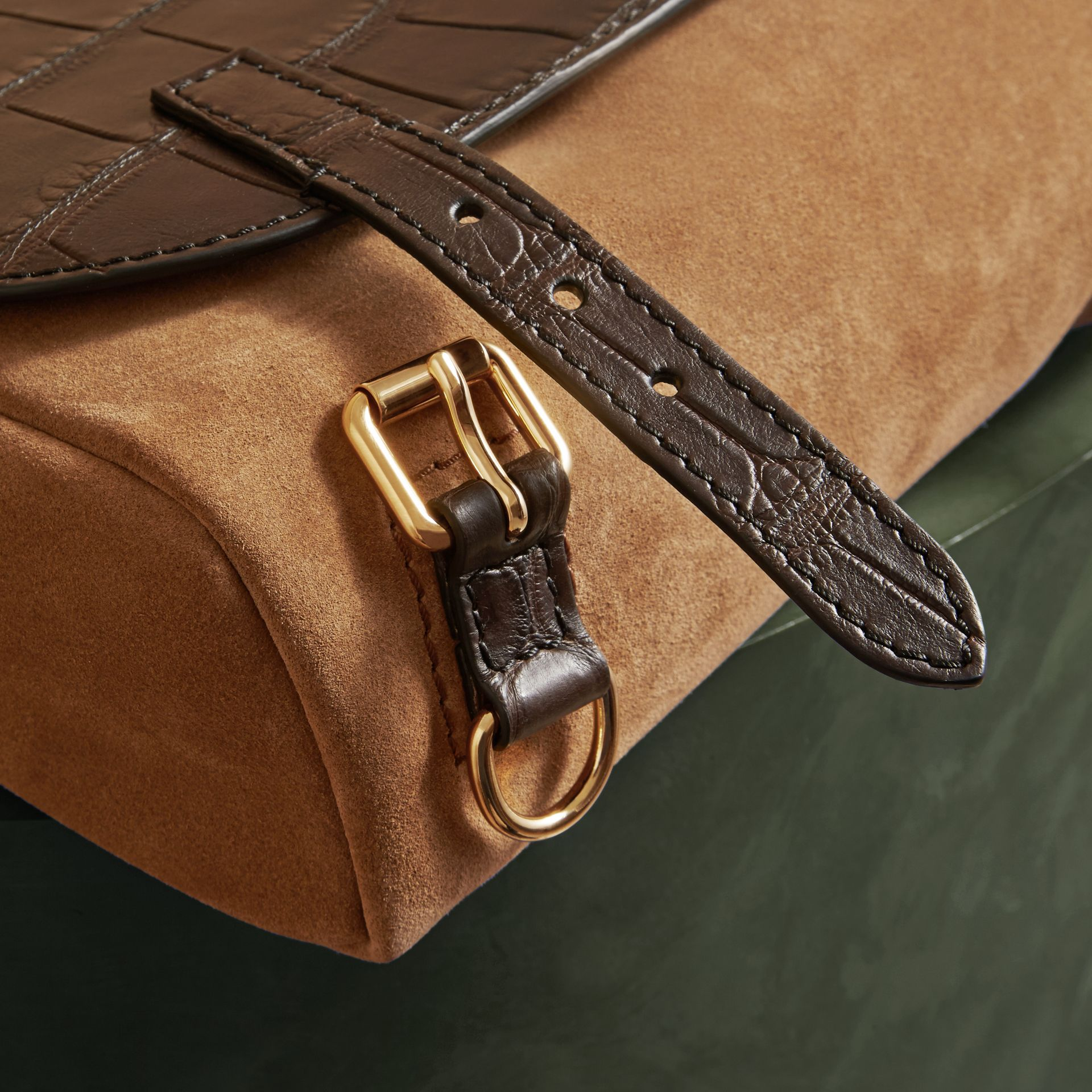 The Small Bridle Bag in Alligator and Suede - Men | Burberry - gallery image 6