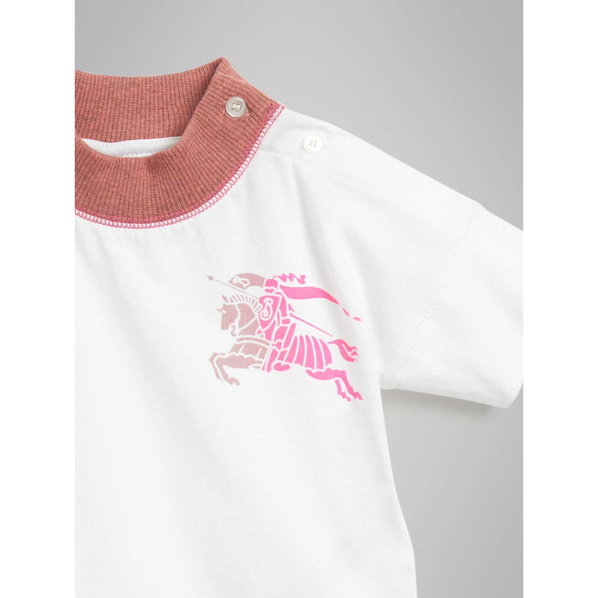 Equestrian Knight Print Cotton Bodysuit in Rose Pink - Children | Burberry United Kingdom - gallery image 4