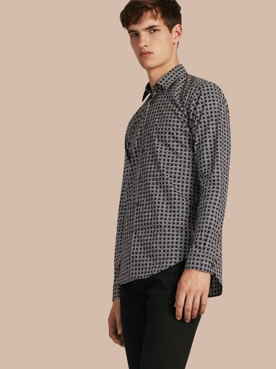 Modern Fit Tile Print Cotton Shirt