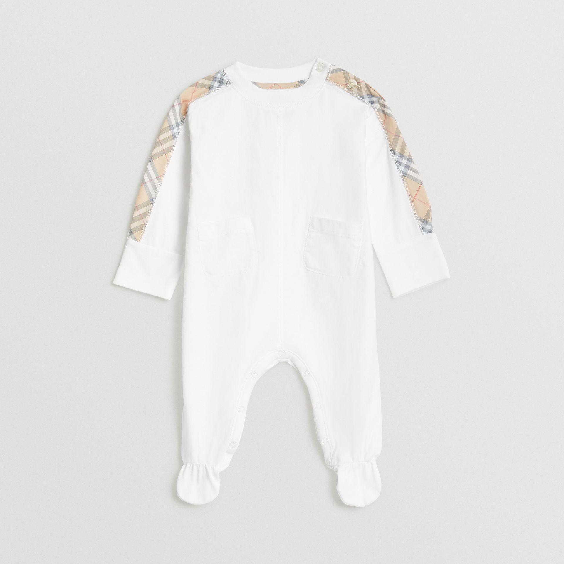 Check Cotton Three-piece Baby Gift Set in White - Children | Burberry Canada - gallery image 2
