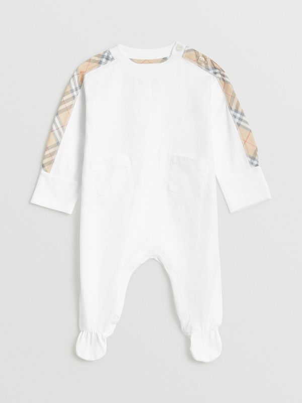 Check Cotton Three-piece Baby Gift Set in White - Children | Burberry United Kingdom - cell image 2