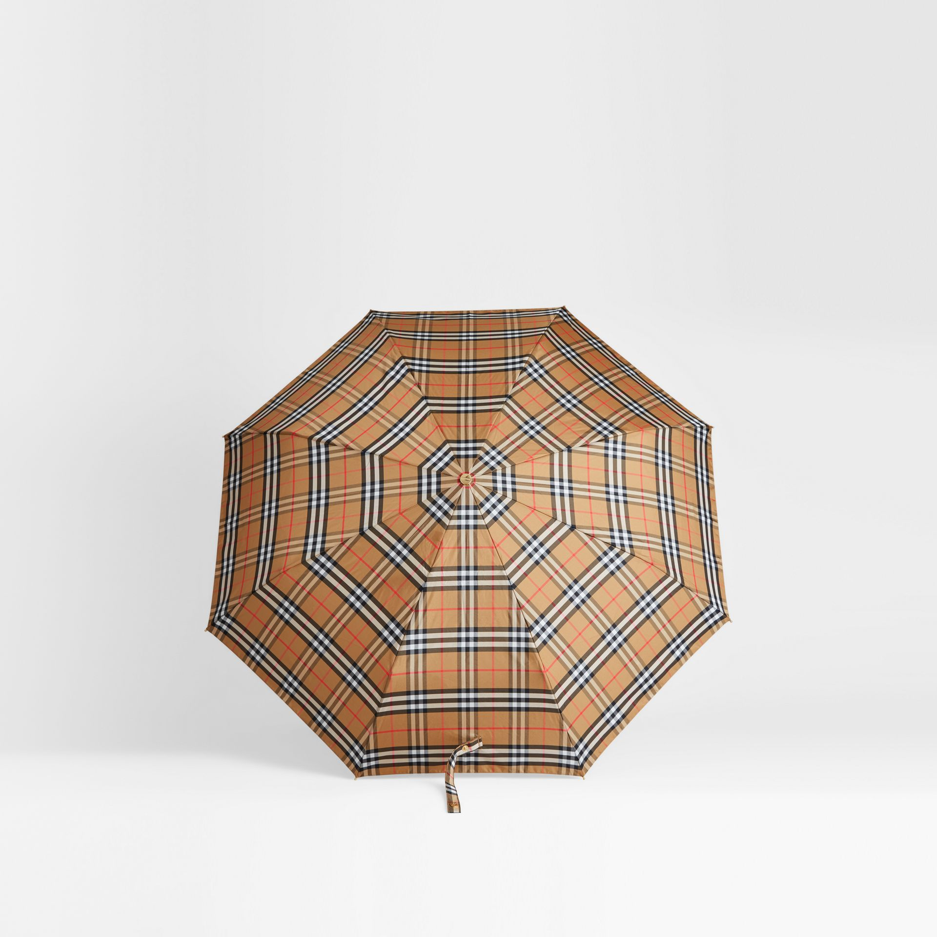 Parapluie télescopique à motif Vintage check (Jaune Antique/miel) | Burberry - photo de la galerie 2