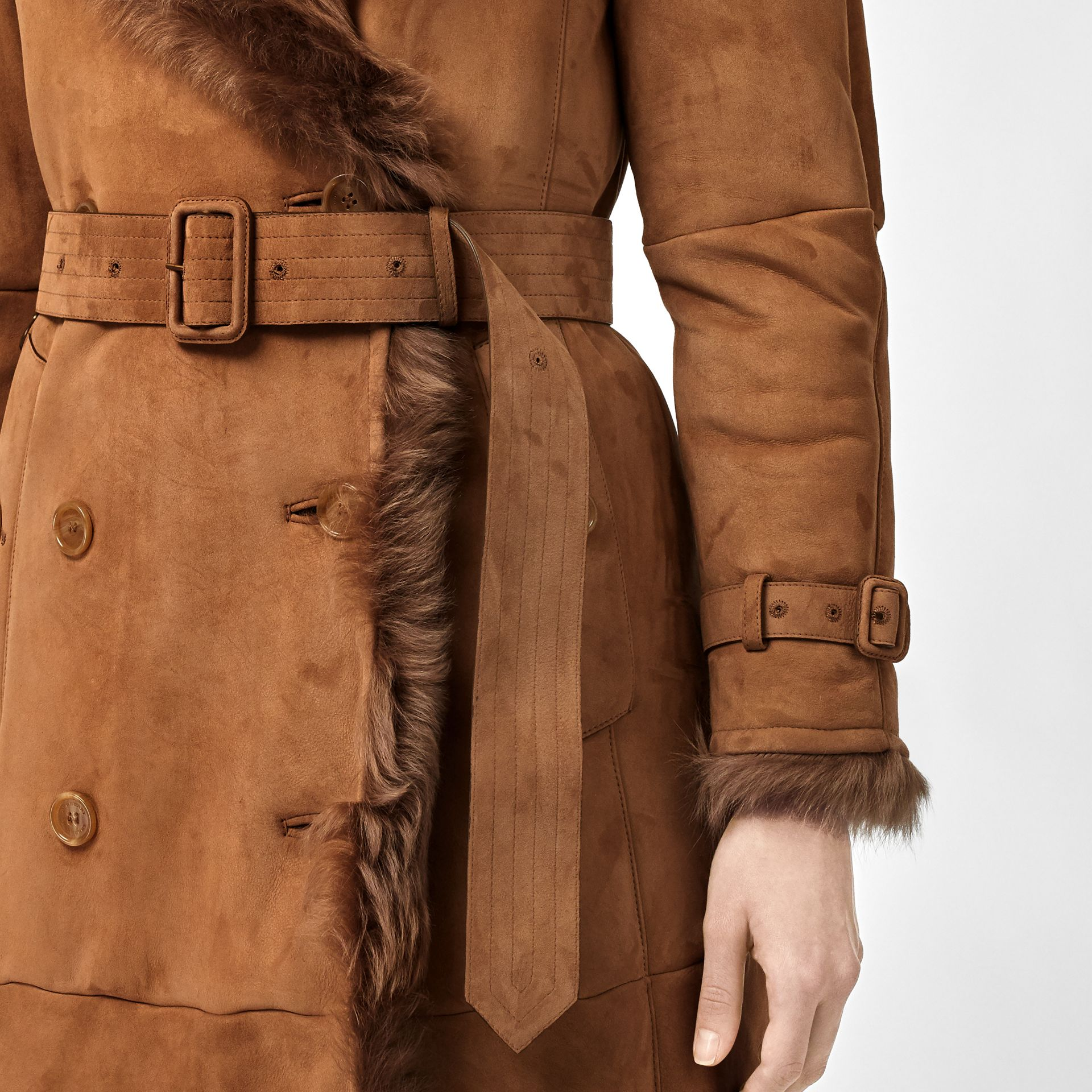 Shearling Trench Coat in Dark Camel - Women | Burberry Canada - gallery image 4