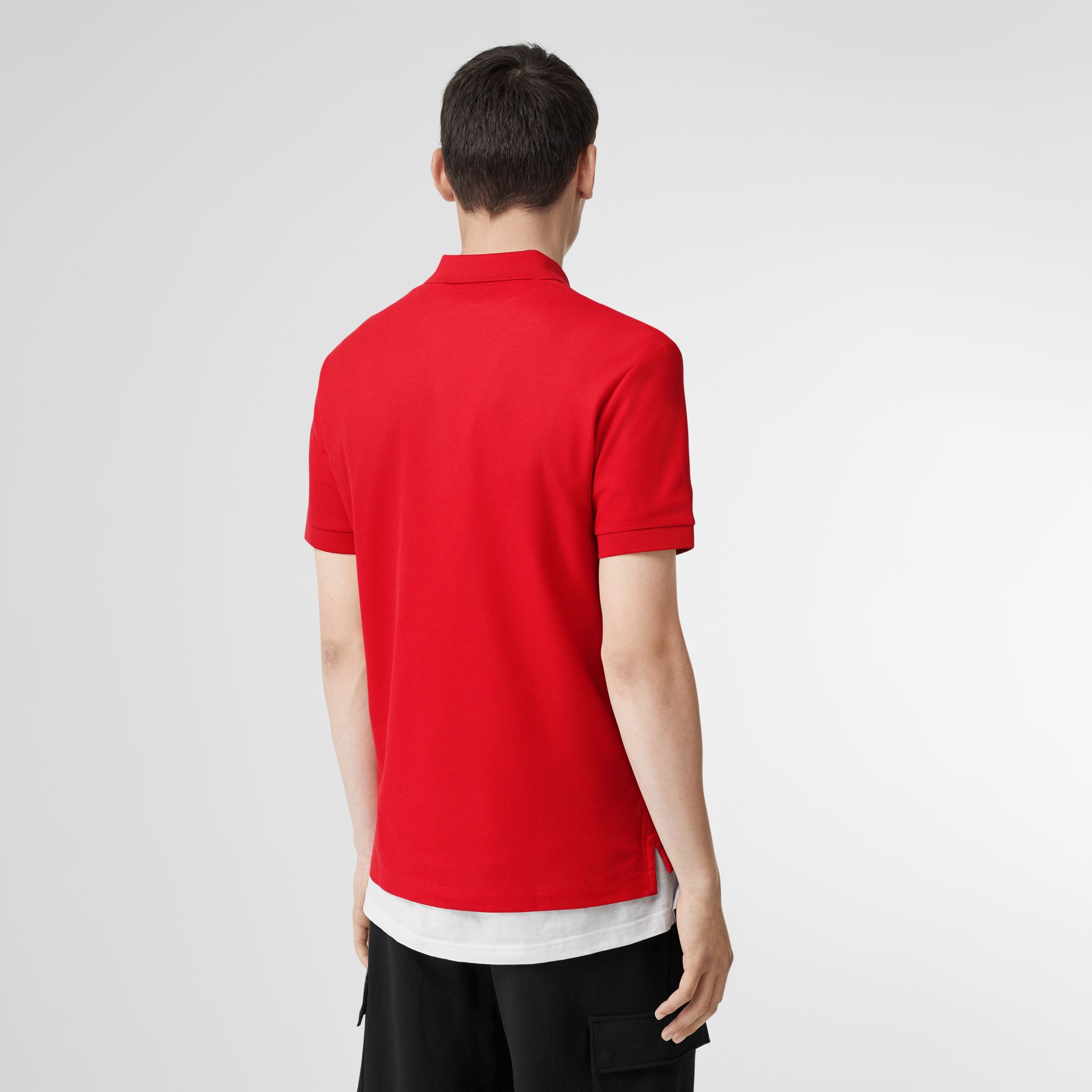 Monogram Motif Cotton Piqué Polo Shirt in Bright Red - Men | Burberry Canada - 3