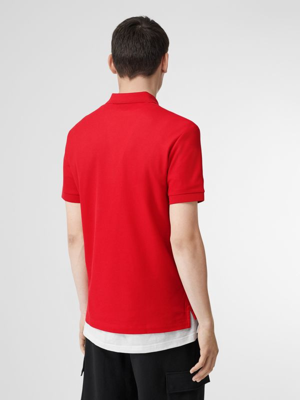 Monogram Motif Cotton Piqué Polo Shirt in Bright Red - Men | Burberry - cell image 2