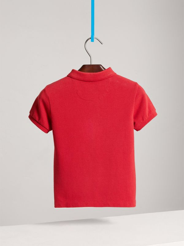 Check Placket Polo Shirt in Military Red - Boy | Burberry - cell image 3