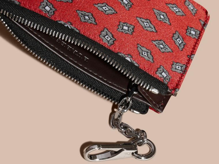 Military red Geometric Tile Jacquard Zip-top Wallet Military Red - cell image 4