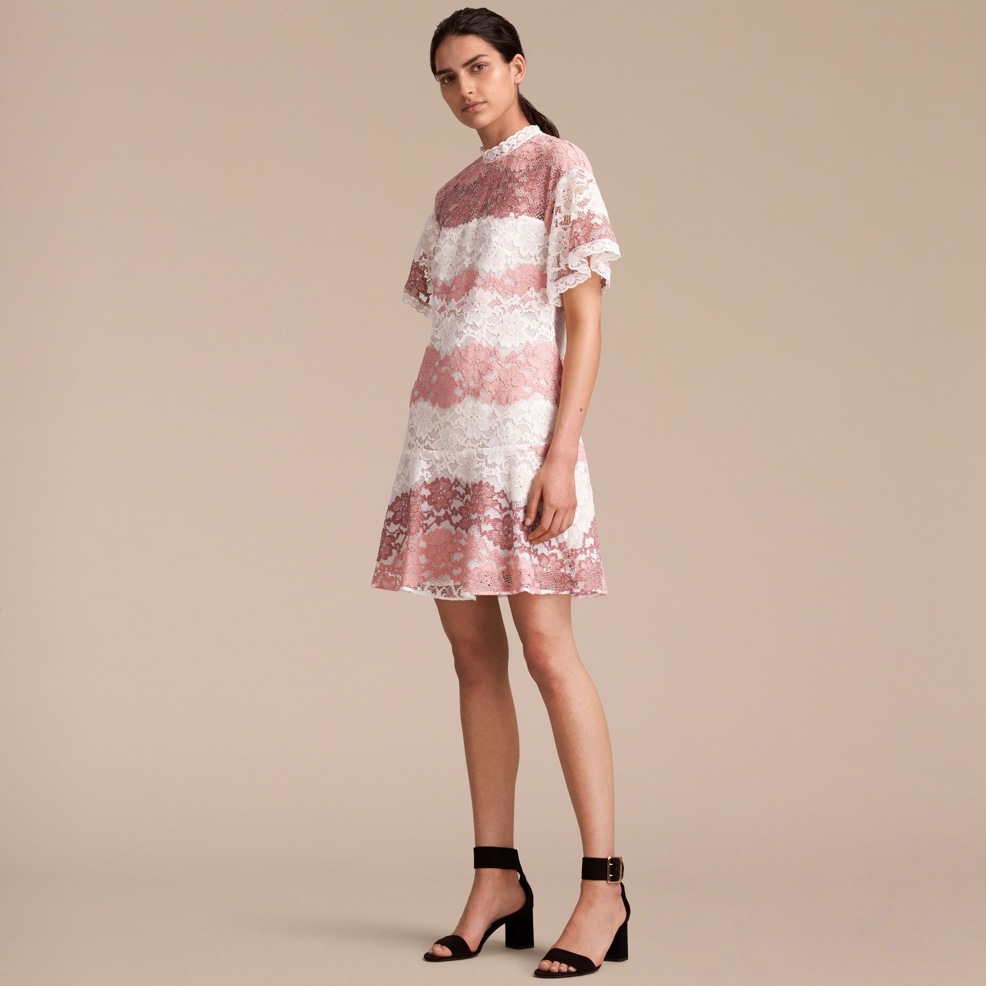 Floral Lace Dress with Flutter Sleeves in Dusty Pink - Women | Burberry - gallery image 6