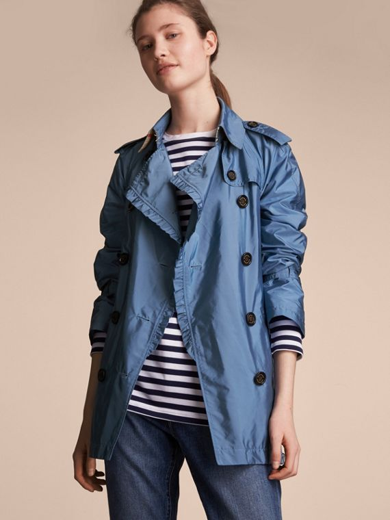 Packaway Ruffle Detail Showerproof Trench Coat in Lupin Blue