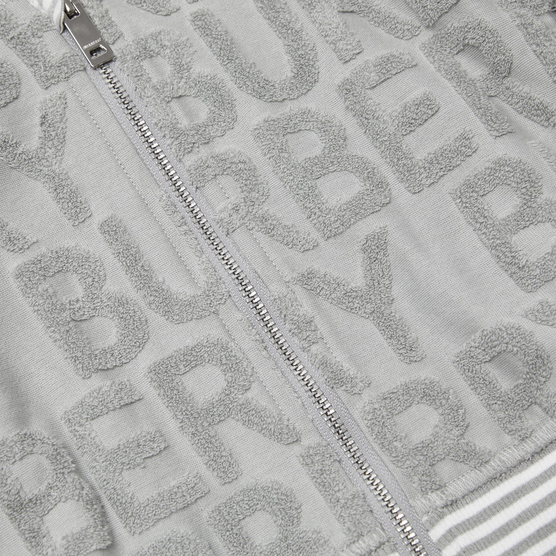 Logo Towelling Hooded Top in Pale Grey - Children | Burberry United Kingdom - gallery image 1