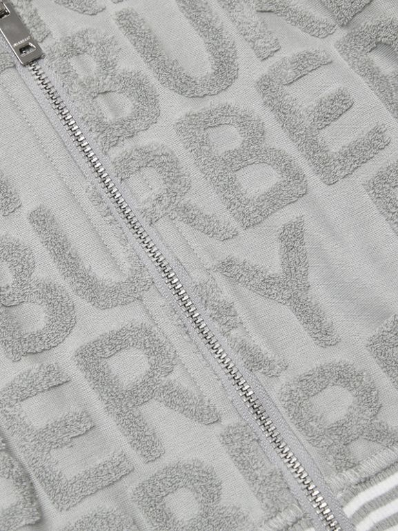 Logo Towelling Hooded Top in Pale Grey - Children | Burberry - cell image 1