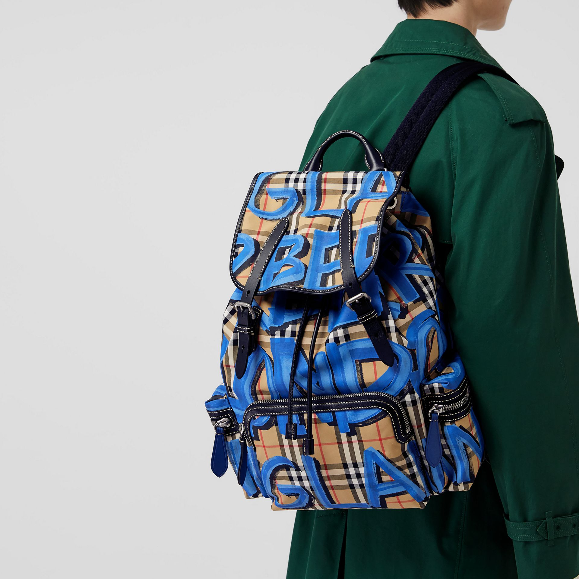 The Large Rucksack in Graffiti Print Vintage Check in Canvas Blue/antique Yellow - Men | Burberry - gallery image 3