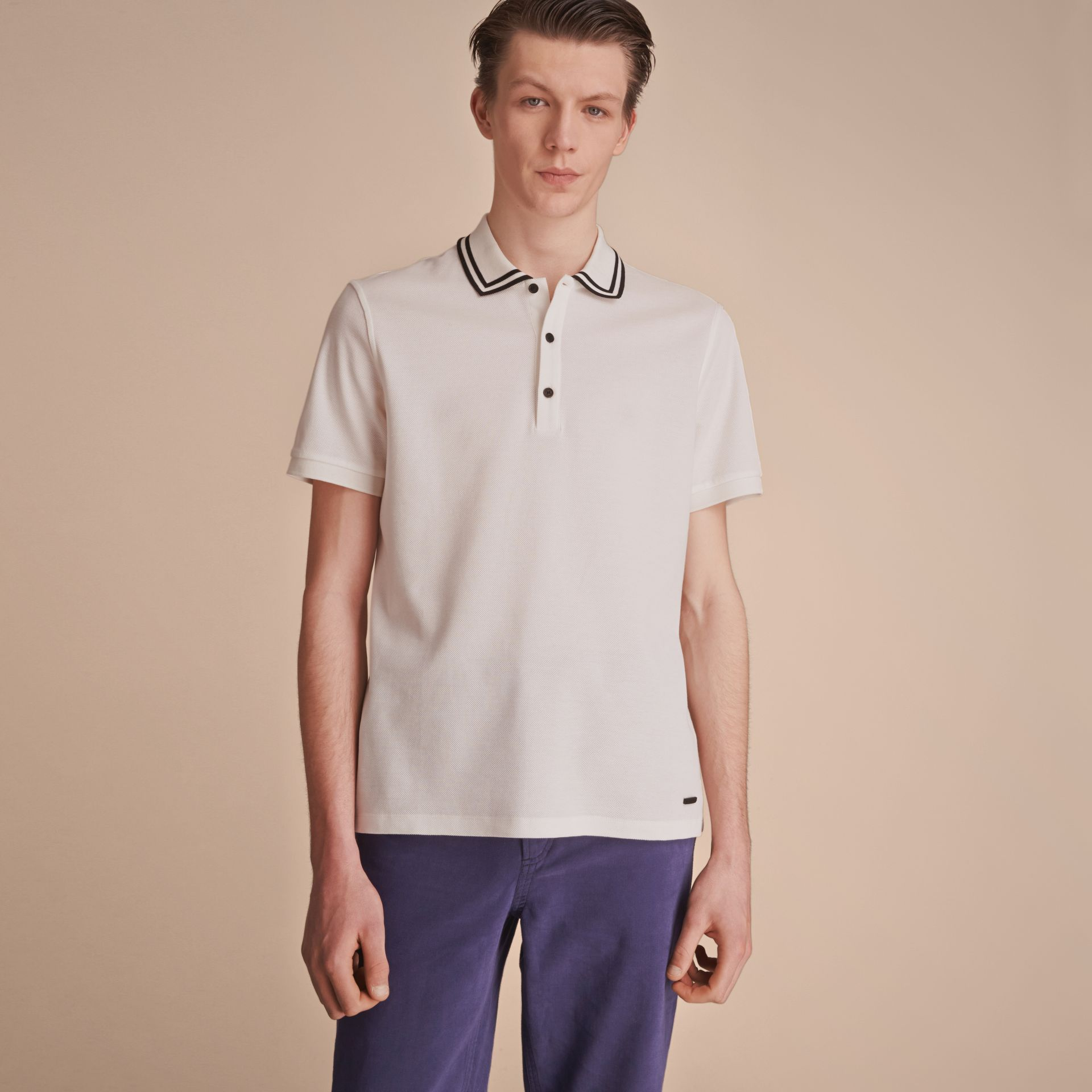 Striped Collar Cotton Piqué Polo Shirt in White - Men | Burberry - gallery image 6