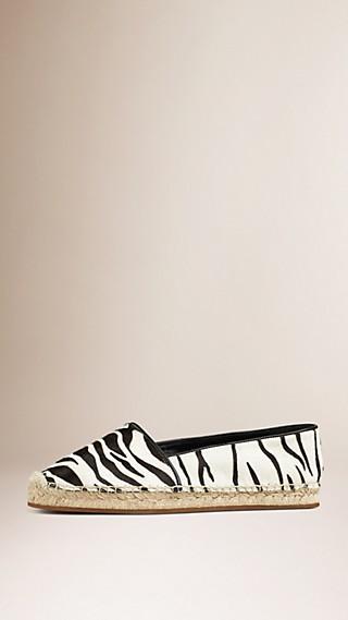 Espadrillas in pelle di vitello con stampa zebrata