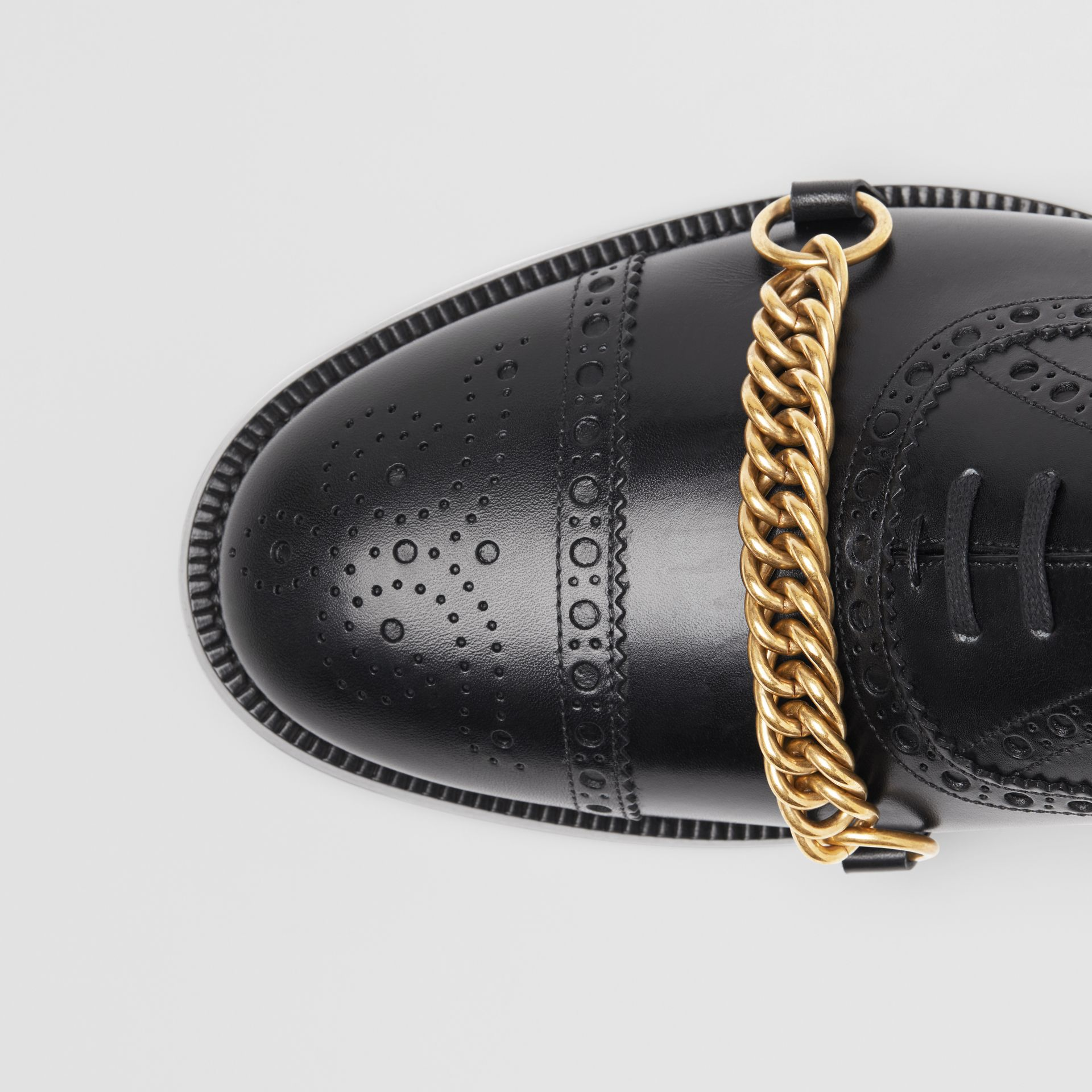 Link Detail Leather Brogues in Black - Men | Burberry Singapore - gallery image 1