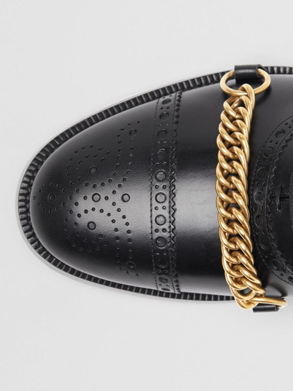 Link Detail Leather Brogues in Black - Men | Burberry Singapore - cell image 1