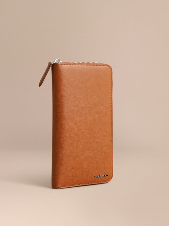 London Leather Ziparound Wallet in Tan