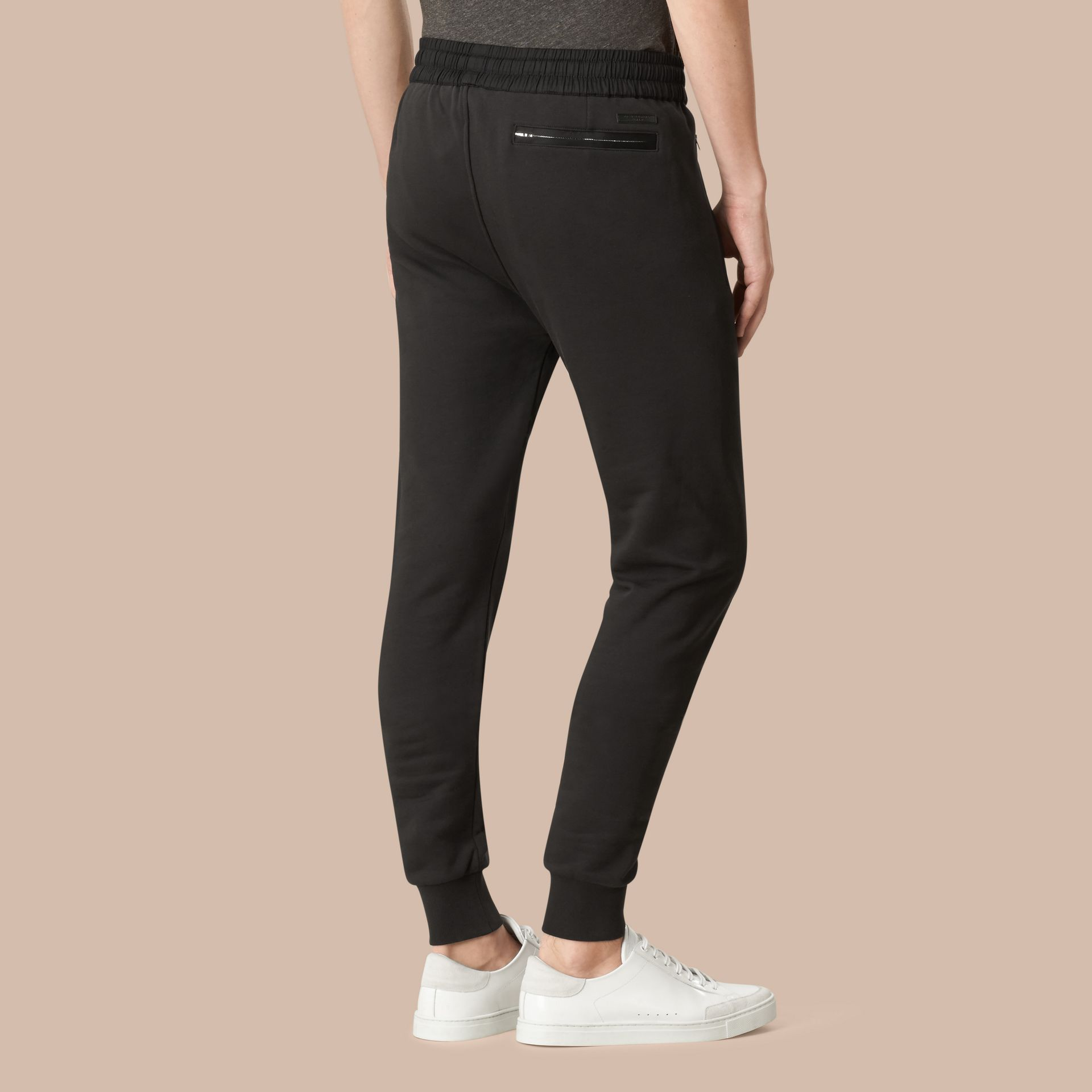 Cotton Sweatpants in Black - gallery image 3