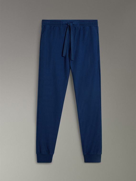Herringbone Cotton Sweatpants in Navy - Men | Burberry - cell image 3