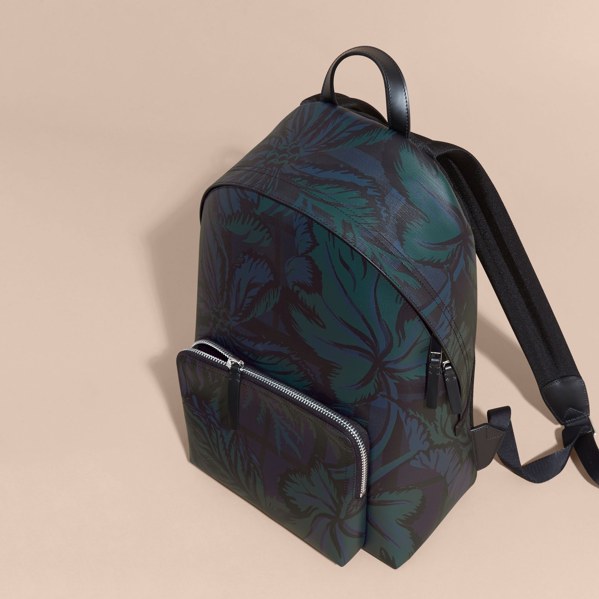 Leather Trim Floral Print London Check Backpack Navy - gallery image 7