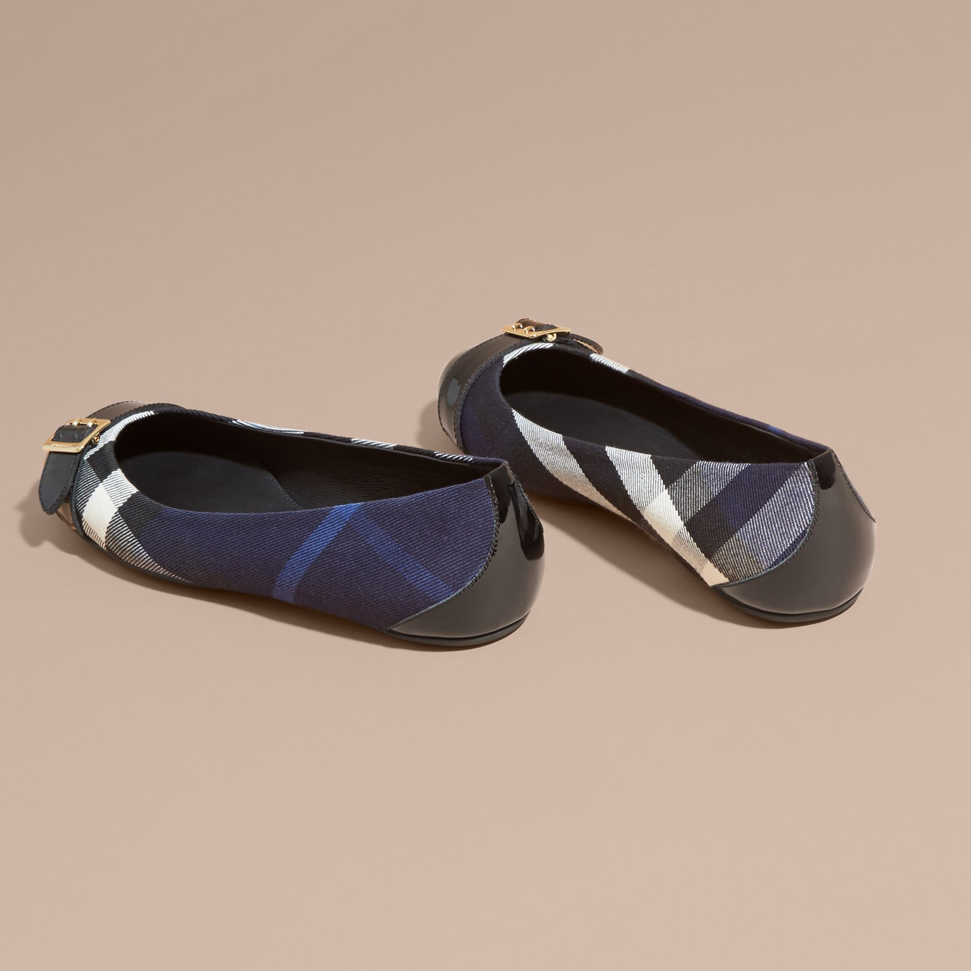 Buckle Detail House Check and Patent Leather Ballerinas Indigo Blue - gallery image 4