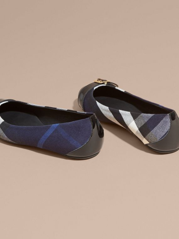 Buckle Detail House Check and Patent Leather Ballerinas in Indigo Blue - cell image 3