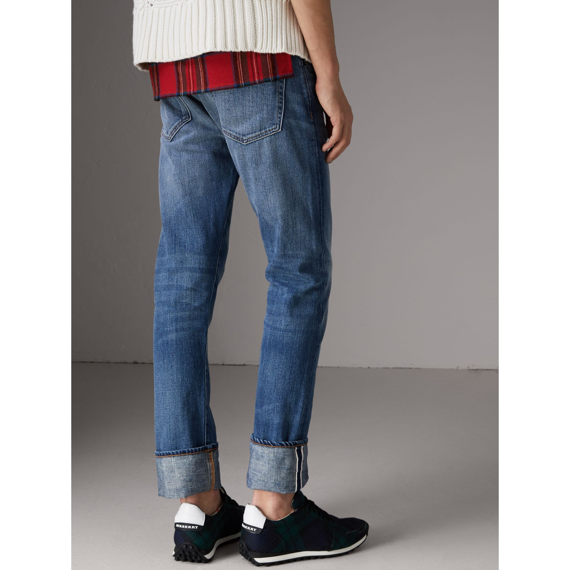 Straight Fit Washed Japanese Selvedge Denim Jeans in Light Indigo - Men | Burberry Singapore - gallery image 2