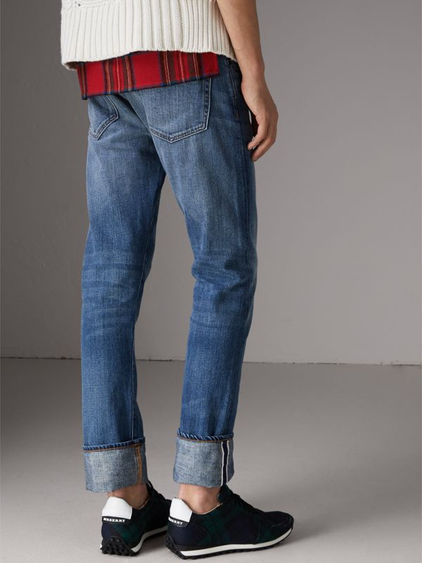 Straight Fit Washed Japanese Selvedge Denim Jeans in Light Indigo - Men | Burberry - cell image 2