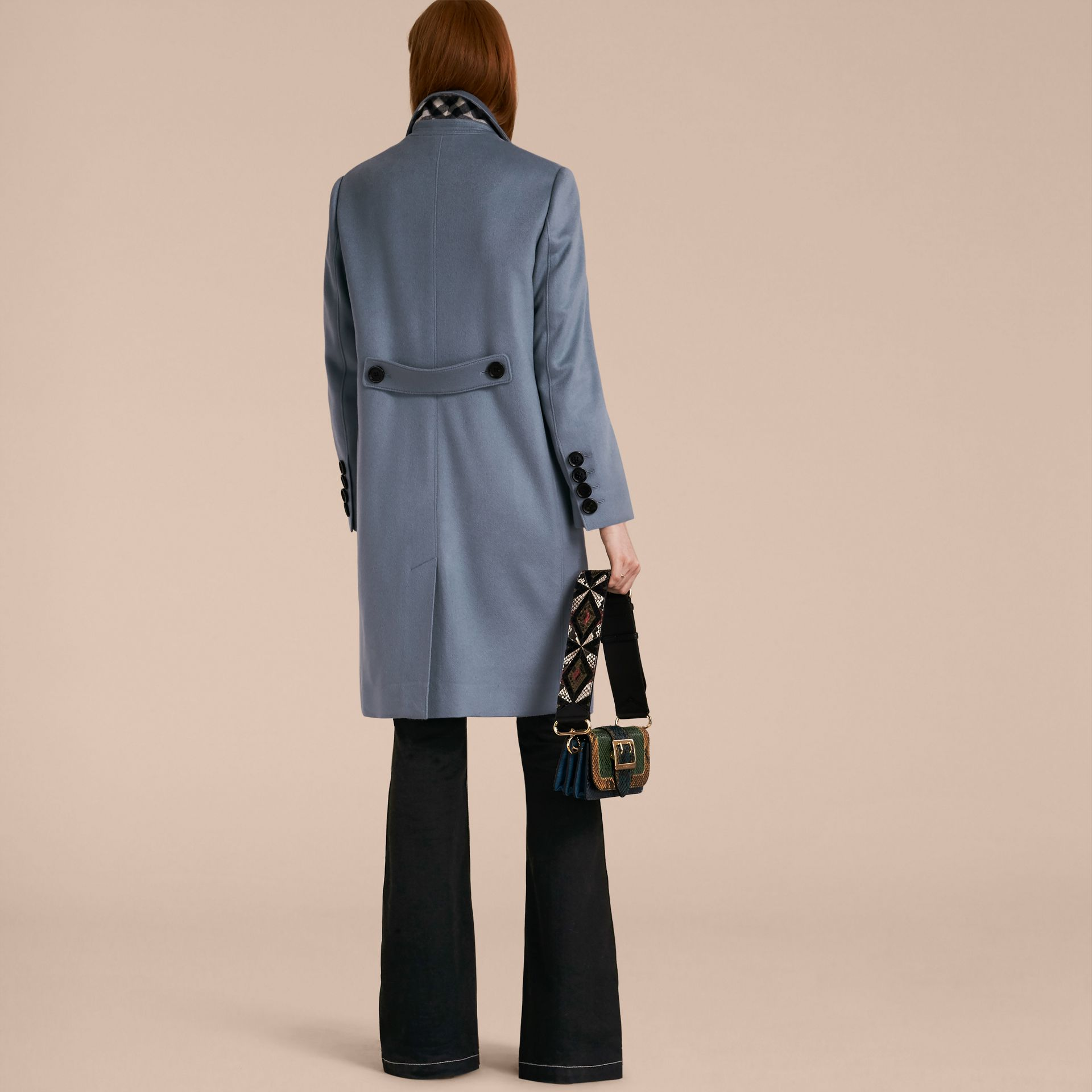 Pale blue Cashmere Tailored Coat - gallery image 2