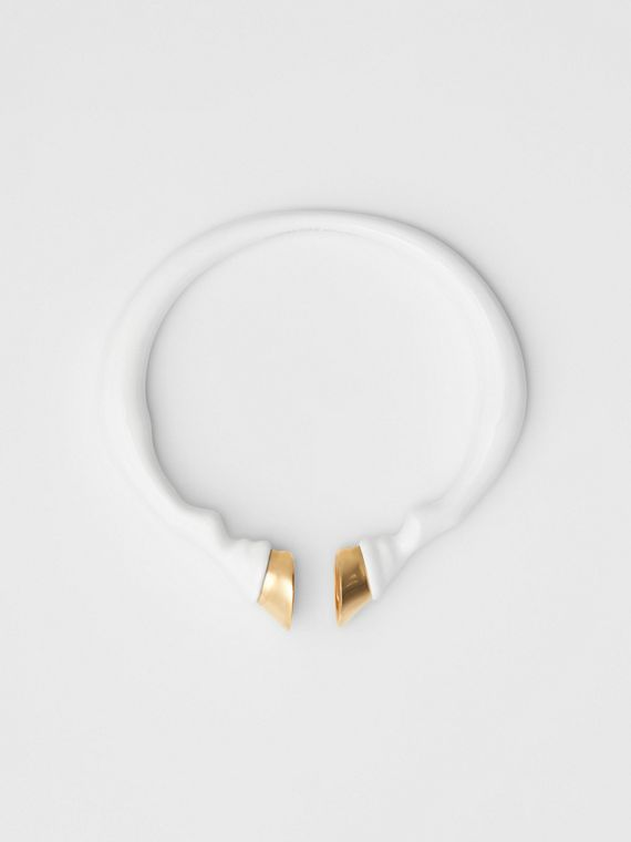 Resin and Gold-plated Hoof Cuff in White/light