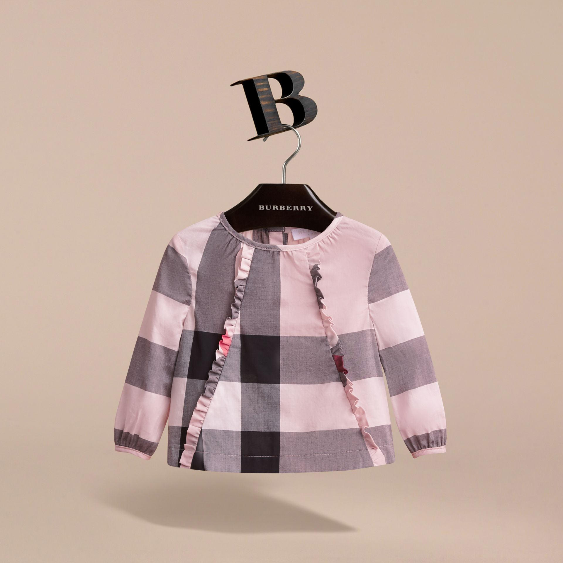 Ruffle Detail Check Cotton Top in Vintage Pink | Burberry - gallery image 3