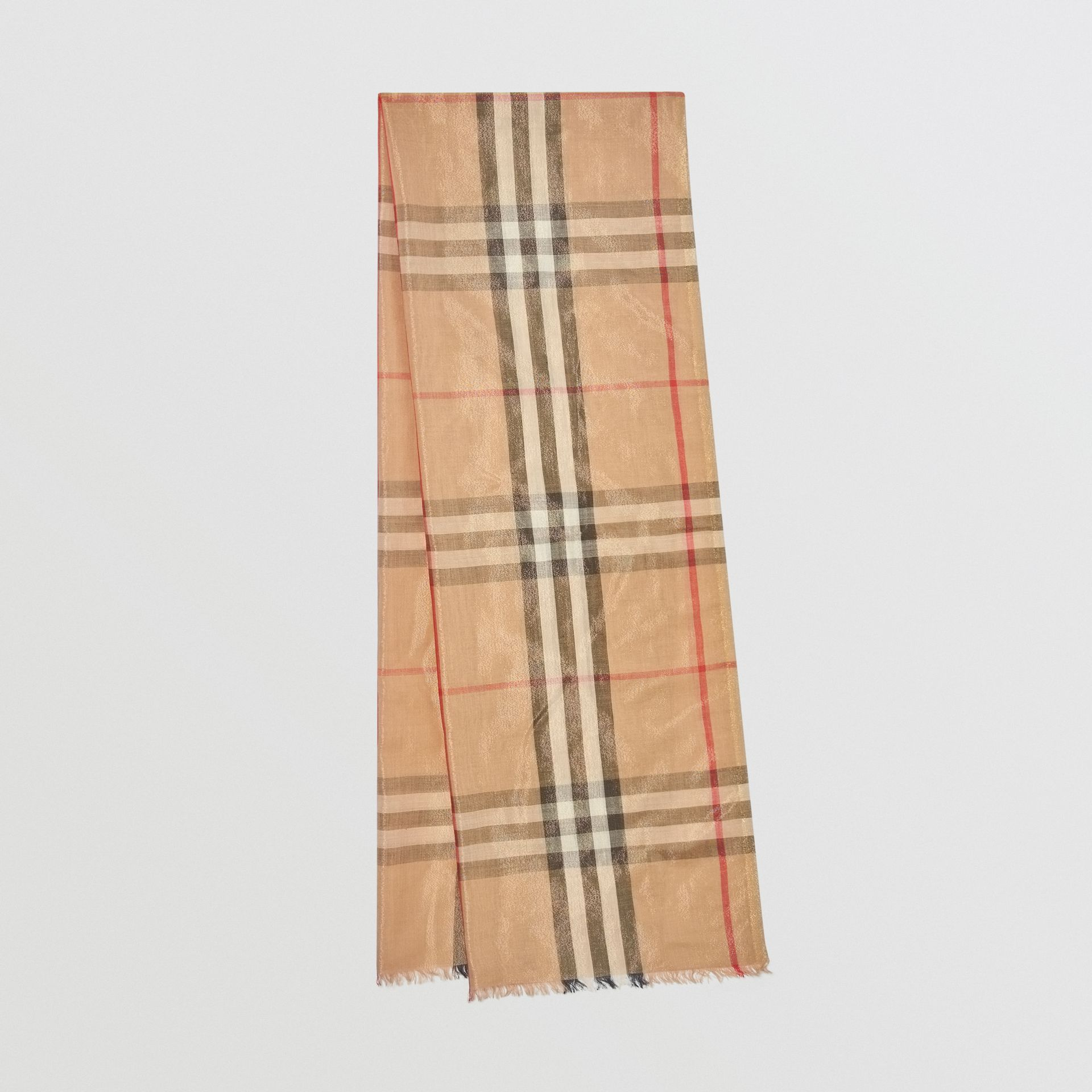 Metallic Check Silk and Wool Scarf in Camel/gold - Women | Burberry - gallery image 0