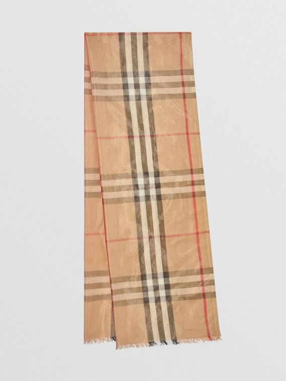 Metallic Check Silk and Wool Scarf in Camel/gold