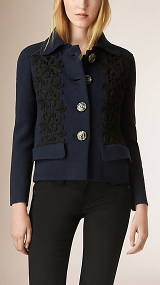 Lace Appliqué Silk Cotton Blend Jacket