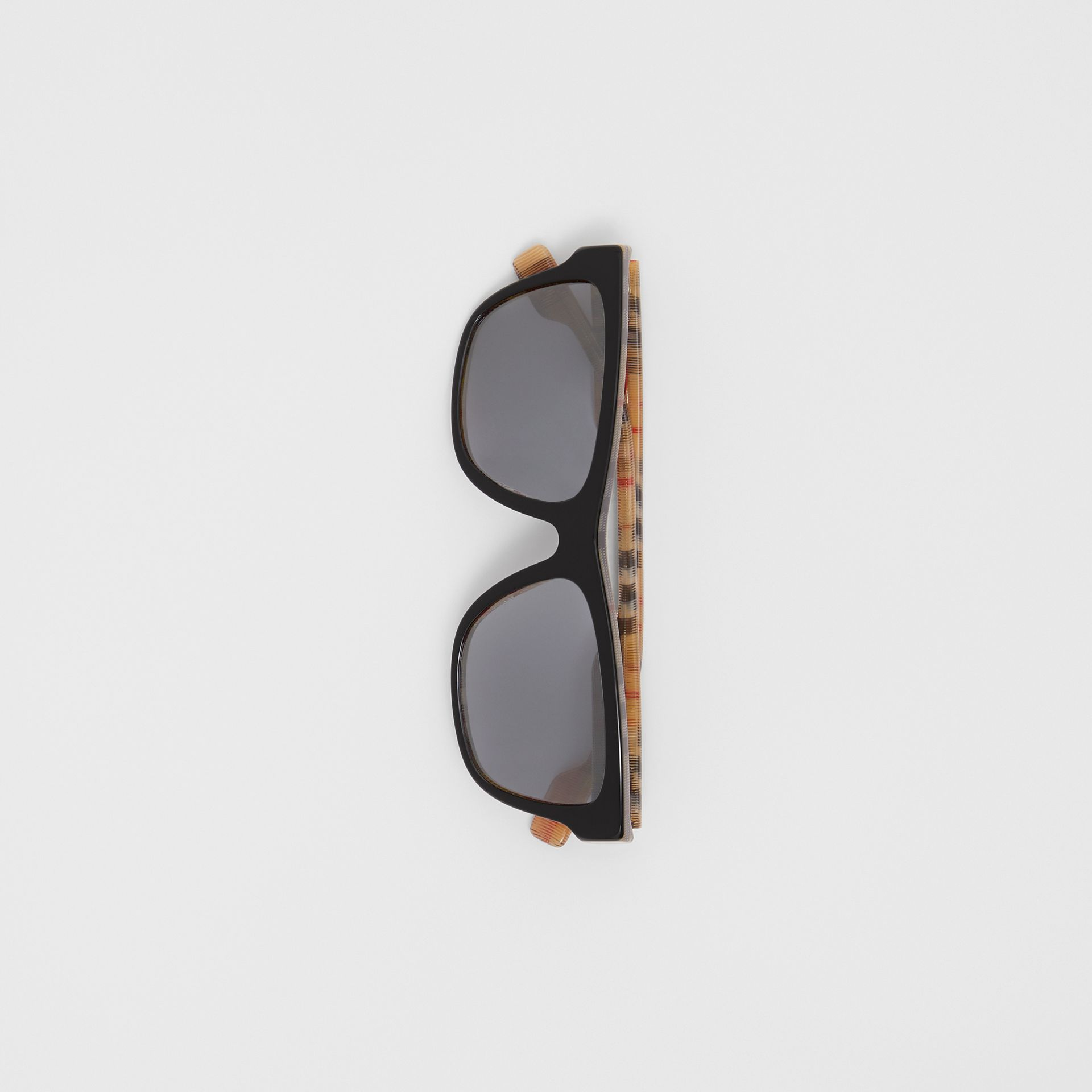 Vintage Check Detail Square Frame Sunglasses in Black/beige | Burberry United Kingdom - gallery image 3