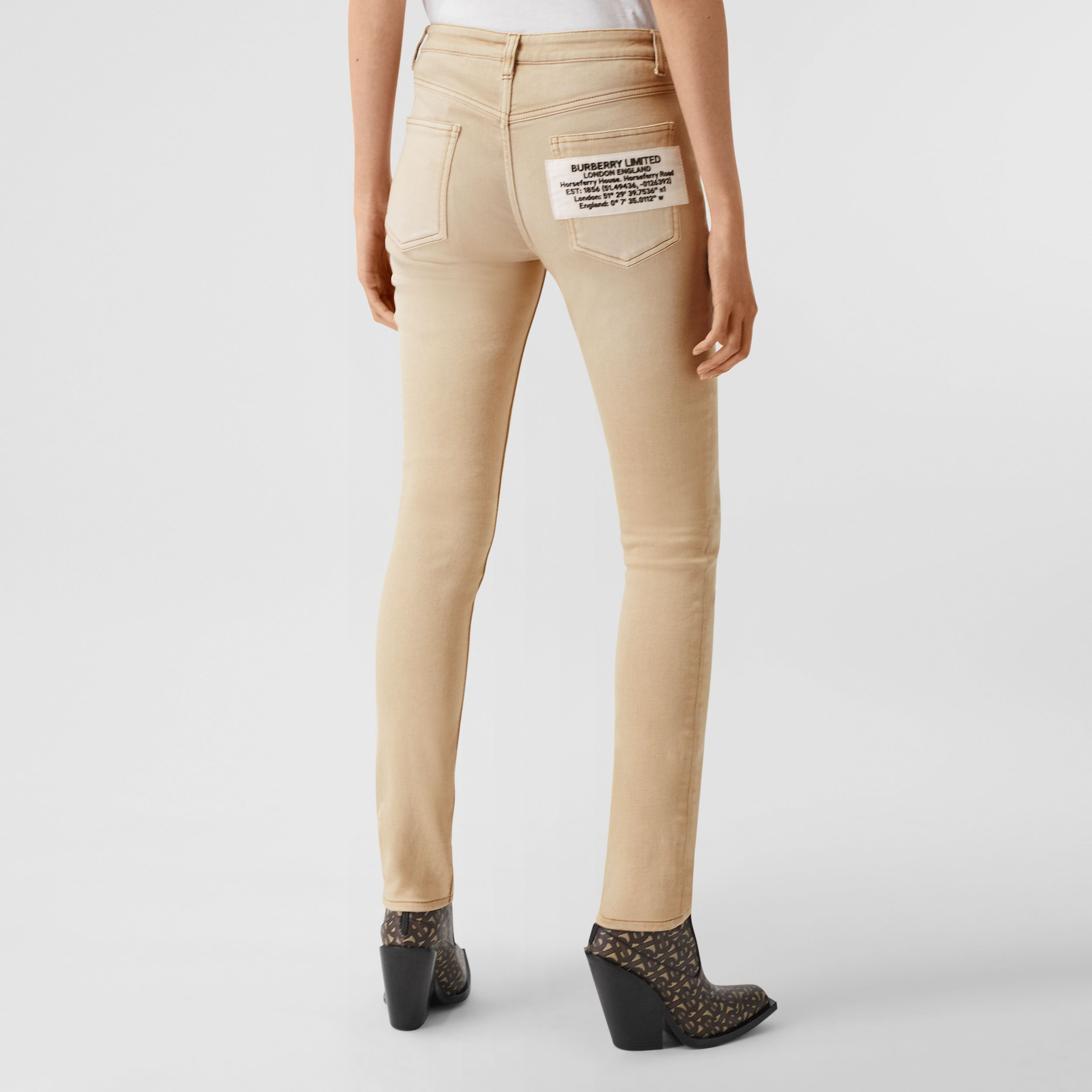 Skinny Fit Washed Japanese Denim Jeans in Honey - Women | Burberry - 3