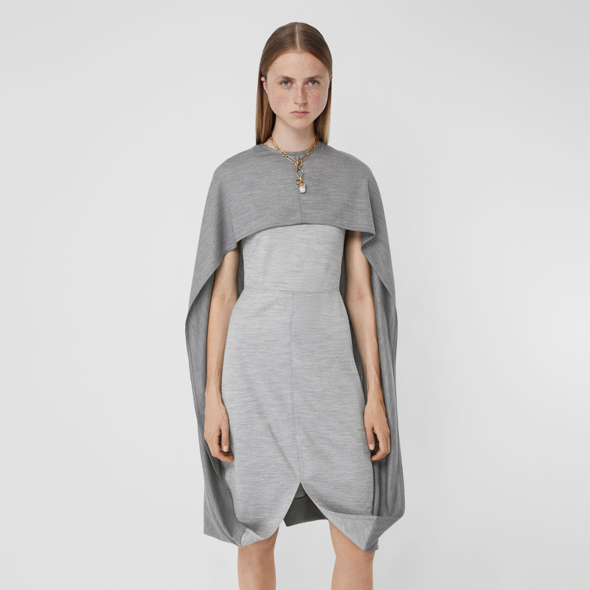 Cape Detail Technical Wool Jersey Shift Dress in Cloud Grey - Women | Burberry United States - gallery image 4