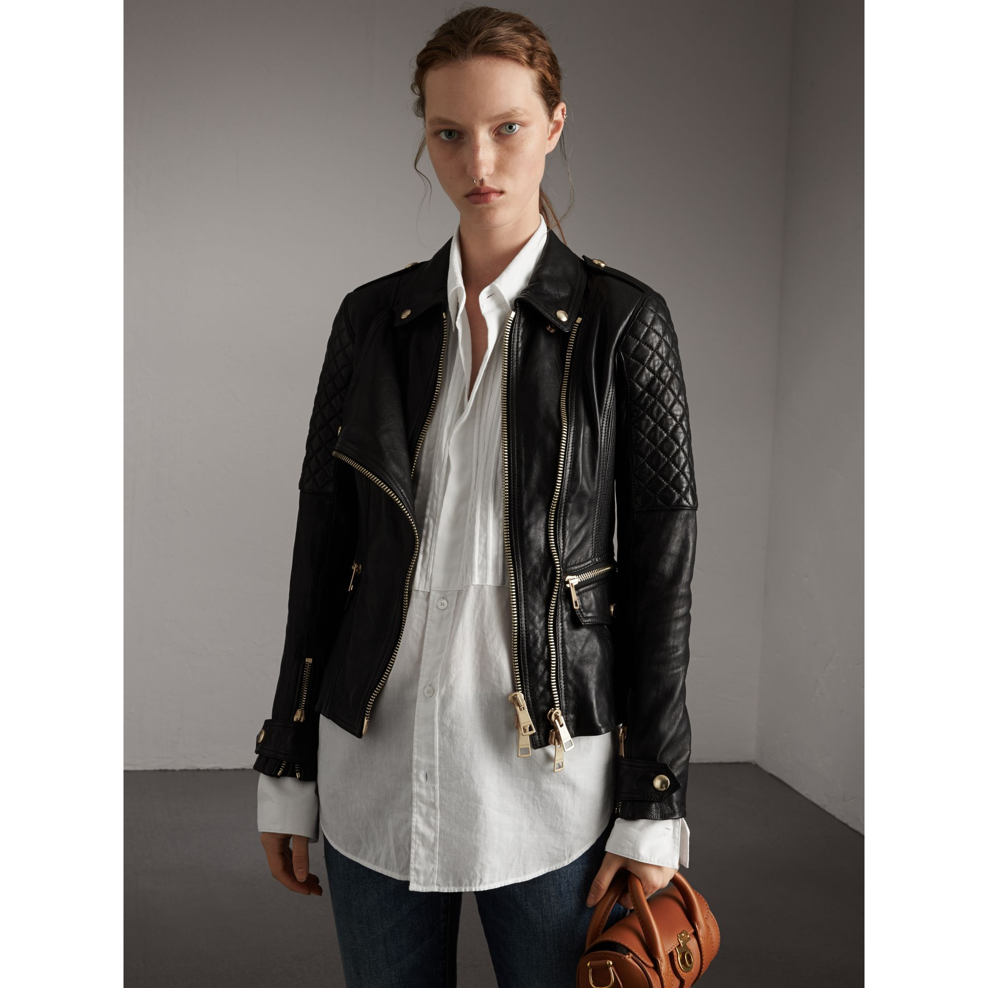 Diamond Quilted Detail Lambskin Biker Jacket in Black - Women | Burberry - gallery image 5