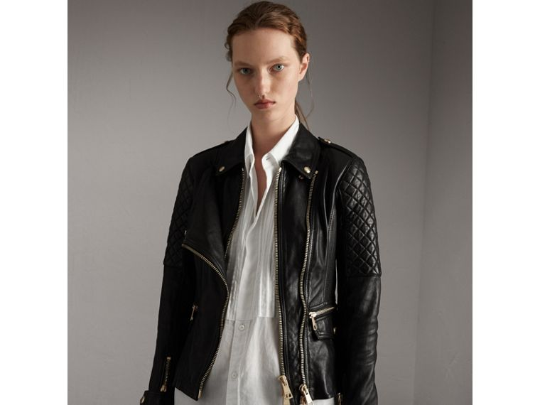 Diamond Quilted Detail Lambskin Biker Jacket in Black - Women | Burberry - cell image 4