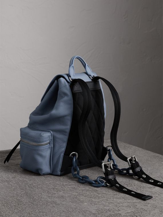 The Medium Rucksack in Deerskin with Resin Chain in Slate Blue - Women | Burberry Singapore - cell image 3
