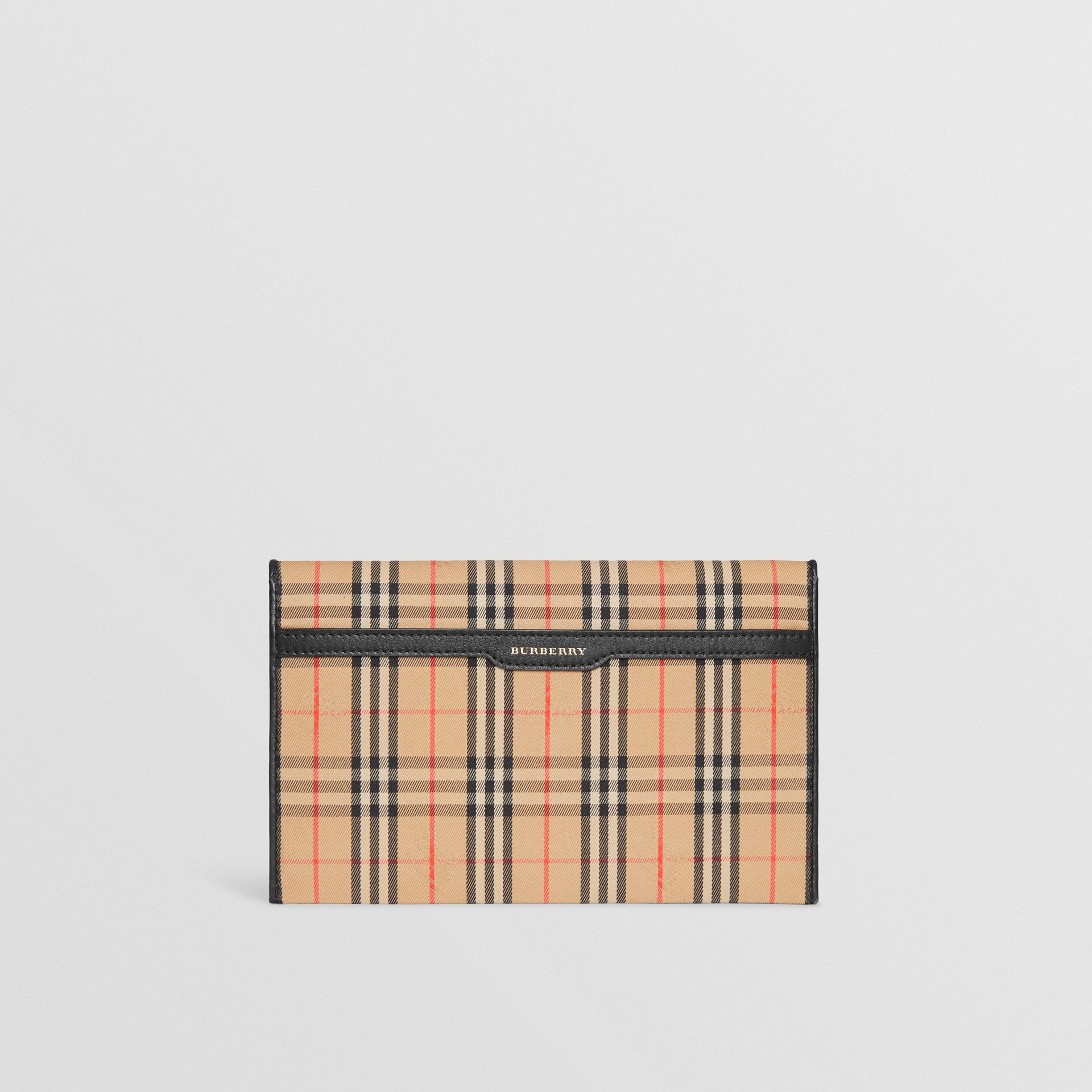 Medium 1983 Check and Leather Envelope Pouch in Black - Women | Burberry - gallery image 0