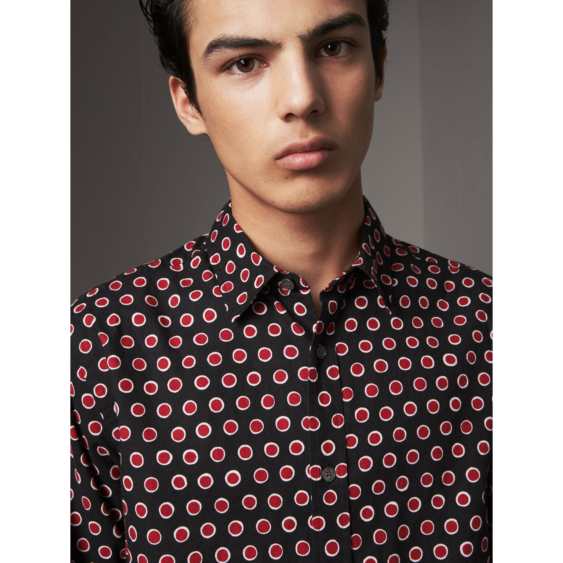 Spot Print Cotton Shirt in Parade Red - Men | Burberry - gallery image 2