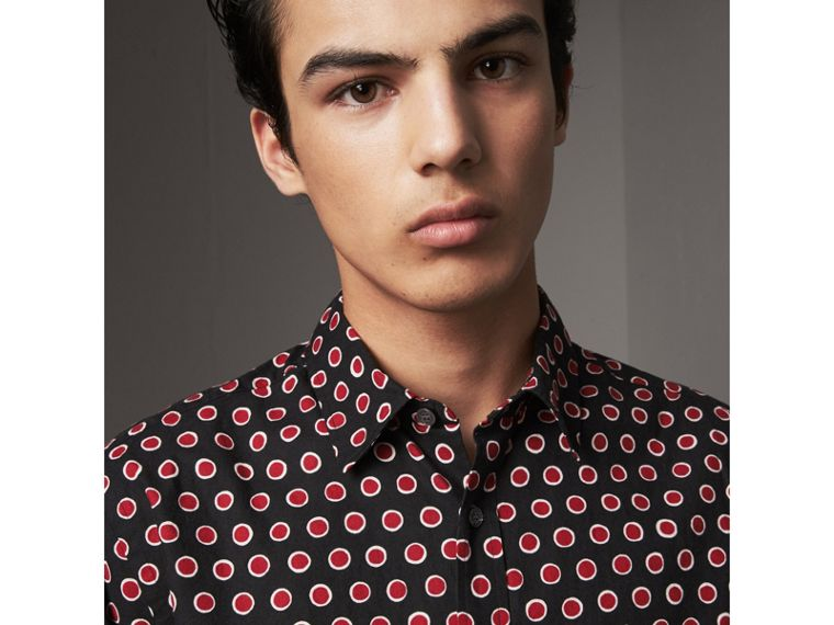 Spot Print Cotton Shirt in Parade Red - Men | Burberry - cell image 1